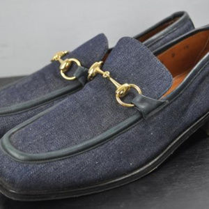 GUCCI Blue Horsebit Loafers 8 1/2 D